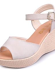 Недорогие -Жен. Обувь Резина Весна Удобная обувь Сандалии Микропоры для на открытом воздухе Черный Бежевый Вино