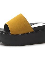povoljno -Žene Cipele PU Proljeće Ljeto Udobne cipele Papuče i japanke Creepersice Okrugli Toe za Kauzalni Obala Crn Bijela Pink