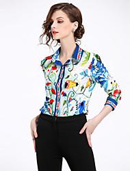 Недорогие -Жен. С принтом Рубашка Уличный стиль Цветочный принт