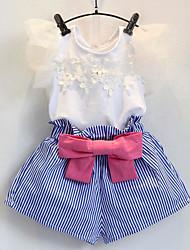 economico -Bambino (1-4 anni) Da ragazza Essenziale A strisce Manica corta Completo