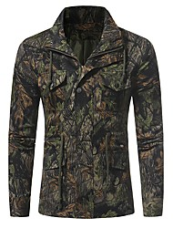 cheap -Men's Military Jacket - Trees / Leaves Camouflage, Print