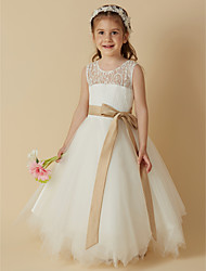 cheap -Princess Tea Length Flower Girl Dress - Lace Satin Tulle Sleeveless Scoop Neck with Bow(s) Sash / Ribbon by LAN TING BRIDE®