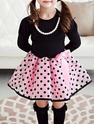 povoljno -Djevojka je Pamuk Na točkice Karirani uzorak Proljeće Jesen Dugih rukava Haljina Mašna Bež Pink