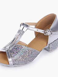 cheap -Girls' Latin Shoes Sparkling Glitter / Paillette / PVC Leather Heel Performance / Practice Low Heel Customizable Dance Shoes Gold / Silver