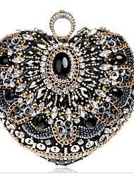 preiswerte -Damen Taschen Polyester Abendtasche Kristall Verzierung Schwarz