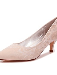 cheap -Women's Shoes Satin Spring / Summer Comfort / Basic Pump Wedding Shoes Kitten Heel Pointed Toe White / Champagne / Ivory