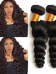 cheap -Peruvian Hair Wavy Human Hair Extensions Human Hair Weaves Extention / Hot Sale Natural Black All