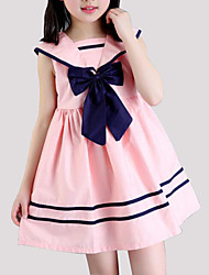cheap -Girl's Striped Dress, Cotton Summer Sleeveless Stripes Bow White Blushing Pink Light Blue