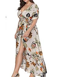 abordables -Mujer Tallas Grandes Corte Swing Vestido Un Color Asimétrico Escote en V Profunda / Verano