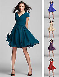 cheap -A-Line V Neck Knee Length Georgette Bridesmaid Dress with Sash / Ribbon / Criss Cross / Ruched by LAN TING BRIDE®