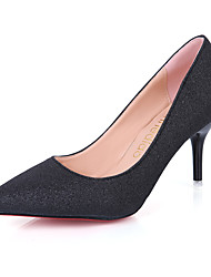 cheap -Women's Shoes PU Summer Light Soles Heels Kitten Heel Pointed Toe for Casual Dress Gold Black Silver