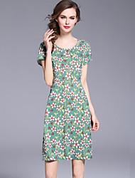 baratos -Mulheres Básico Moda de Rua Reto Vestido - Estampado, Floral Acima do Joelho