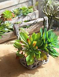 baratos -Flores artificiais 1 Ramo Comum / Pastoril Estilo Plantas suculentas Flor de Mesa