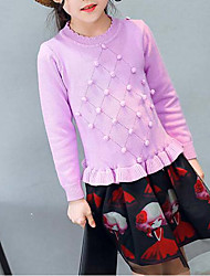 cheap -Girl's Dress, Cotton Polyester Spring Fall Long Sleeves Floral Red Purple