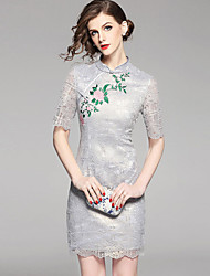abordables -Femme Sophistiqué Chinoiserie Moulante Gaine Robe - Dentelle Brodée, Fleur Au dessus du genou