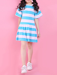 cheap -Girl's Daily Going out Striped Dress, Cotton Summer Short Sleeves Simple Cute Active Blue Red