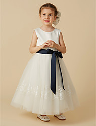 cheap -A-Line Ankle Length Flower Girl Dress - Satin Tulle Sleeveless Jewel Neck with Bow(s) Buttons Sash / Ribbon by LAN TING BRIDE®