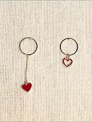 abordables -Femme Incompatibilité Long Boucles d'oreille goutte - Dorage 18K Cœur Coréen, Doux Rouge Pour Cadeau Quotidien