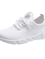 baratos -Mulheres Sapatos Couro Ecológico Outono Inverno Botas de Neve Conforto Botas Sem Salto Ponta Redonda Botas Cano Médio para Casual Branco