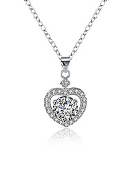 cheap -Women's Heart Cubic Zirconia S925 Sterling Silver Pendant Necklace  -  Fashion Silver 40cm Necklace For Gift Daily