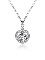 abordables -Femme Cœur Zircon S925 argent sterling Pendentif de collier  -  Mode Argent 40cm Colliers Tendance Pour Cadeau Quotidien