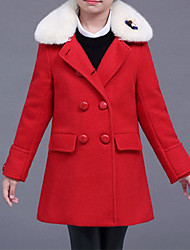 cheap -Girls' Solid Jacket & Coat, Cotton Polyester Long Sleeves Cute Casual Red