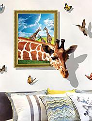 abordables -Calcomanías Decorativas de Pared - Pegatinas de pared de animales Animales 3D Sala de estar Dormitorio Baño Cocina Comedor Habitación de