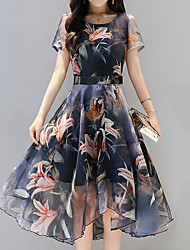 Недорогие -Жен. Изысканный Богемный Оболочка Платье - Цветочный принт, С принтом Ассиметричное