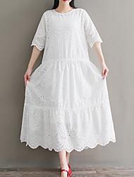 Недорогие -Жен. Свободный силуэт А-силуэт Платье - Однотонный Средней длины