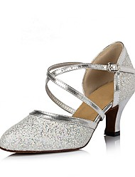 cheap -Women's Modern Shoes Paillette / PVC Leather / Glitter Heel Performance / Practice High Heel Customizable Dance Shoes Silver