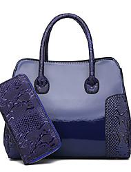 preiswerte -Damen Taschen PU-Leder Bag Set 2 Stück Geldbörse Set Reißverschluss Schwarz / Braun / Wein