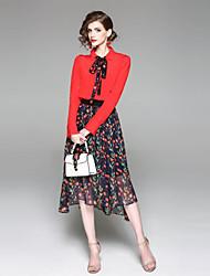 baratos -Mulheres Básico Blusa - Estampado, Floral Saia