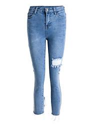 baratos -Mulheres Básico Jeans Calças - Sólido