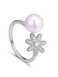 abordables -Femme Anneau de bande - Perle, Zircon, Cuivre Fleur Doux, Mode réglable Or / Argent Pour Soirée / Anniversaire