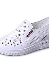 abordables -Femme Chaussures Polyuréthane Printemps Confort Mocassins et Chaussons+D6148 Talon Plat Bout rond pour Blanc Noir