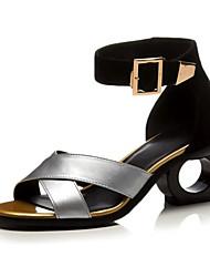 povoljno -Žene Cipele Koža Ljeto Obične salonke Udobne cipele Sandale Heterotipski peta za Kauzalni Zlato Pink