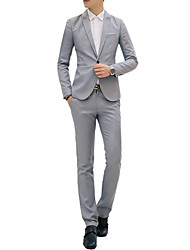 cheap -Men's Cotton Slim Suits - Solid Colored
