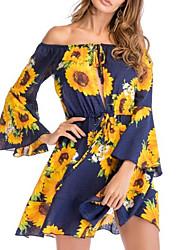 cheap -Women's Holiday Flare Sleeve Shift Dress - Floral Sun Flower, Print Mini Off Shoulder