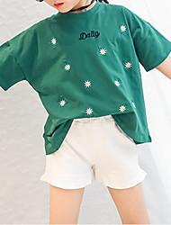 Недорогие -Девочки Футболка Хлопок Цветочный принт Лето Рукав до локтя Очаровательный Зеленый Белый