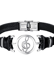 cheap -Men's Leather Bracelet - Stainless Steel, Leather Music Notes Fashion Bracelet Black For Daily