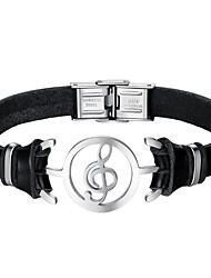 Недорогие -Муж. Кожаные браслеты - Нержавеющая сталь, Кожа Музыкальные ноты Мода Браслеты Черный Назначение Повседневные