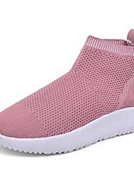 baratos -Mulheres Sapatos Couro Ecológico Primavera Outono Conforto Tênis Sem Salto Dedo Fechado para Ao ar livre Preto Cinzento Rosa claro Amêndoa