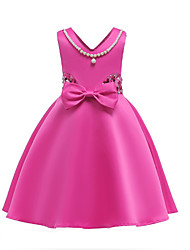 cheap -Girl's Party Going out Solid Colored Dress, Cotton Polyester Spring Summer Sleeveless Cute Blue Fuchsia