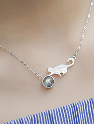 cheap -Women's Lovely Cat Ball Pendant Necklace  -  Simple Fashion Silver 44cm Necklace For Gift Daily