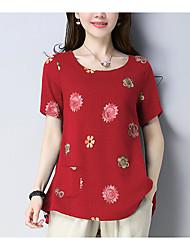 abordables -Mujer Básico Estampado Camiseta Floral