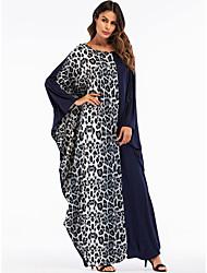 baratos -Mulheres Para Noite Básico / Boho Solto Reto / balanço / Abaya Vestido Leopardo / Estampa Colorida Longo