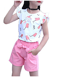 cheap -Girls' Daily Sports Print Clothing Set, Cotton Polyester Summer Sleeveless Cute Active Red Blushing Pink