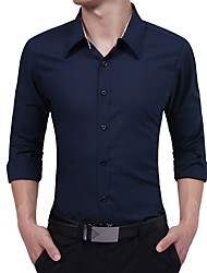 Недорогие -Муж. С кисточками Рубашка Классический Однотонный Синий и белый