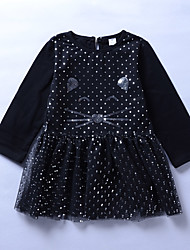 baratos -Menina de Vestido Para Noite Feriado Poá Estampado Algodão Raiom Fofo Moda de Rua Preto