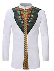 Недорогие -Муж. С принтом Рубашка Воротник-стойка Классический Геометрический принт
